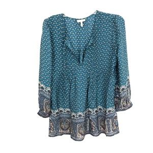 Joie Teal pintuck blouse top Silk Floral paisley